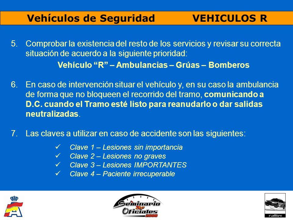 Vehículos de Seguridad VEHICULOS R 5.Comprobar la existencia del resto de los servicios y revisar su correcta situación de acuerdo a la siguiente prio