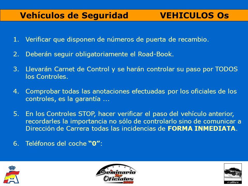 Vehículos de Seguridad VEHICULOS Os 1.Verificar que disponen de números de puerta de recambio. 2.Deberán seguir obligatoriamente el Road-Book. 3.Lleva
