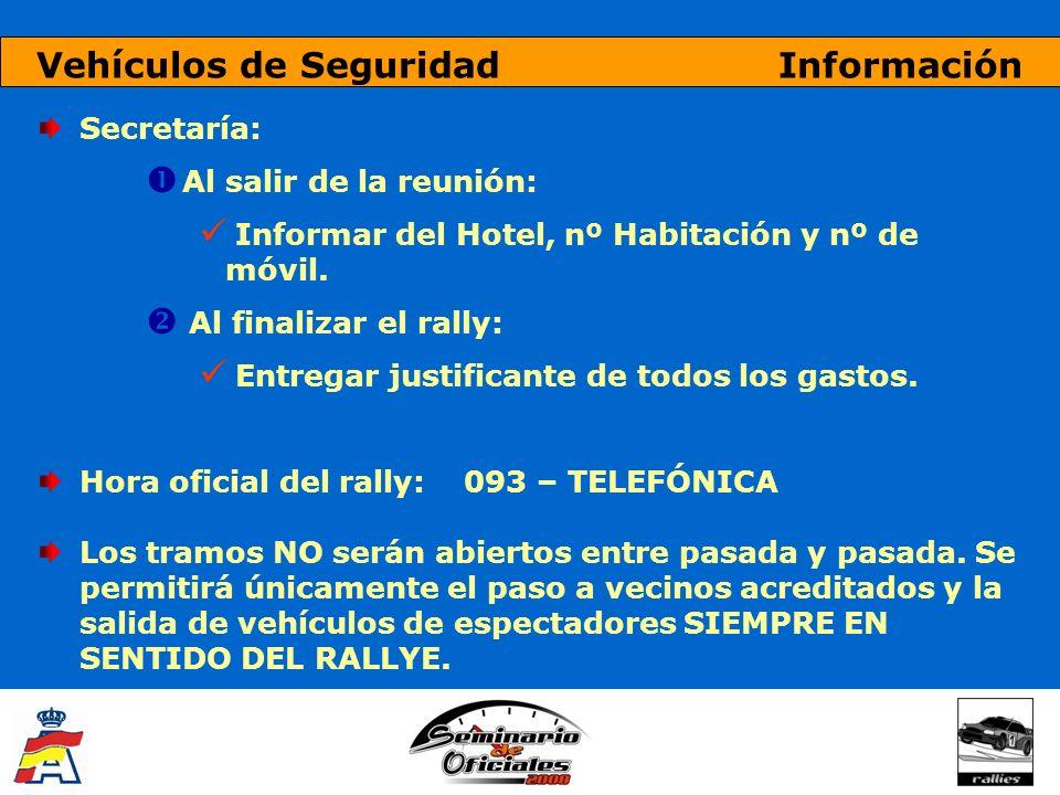 Vehículos de Seguridad Información Secretaría: Al salir de la reunión: Informar del Hotel, nº Habitación y nº de móvil. Al finalizar el rally: Entrega