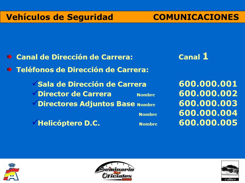 Vehículos de Seguridad COMUNICACIONES Canal de Dirección de Carrera: Canal 1 Teléfonos de Dirección de Carrera: Sala de Dirección de Carrera 600.000.0