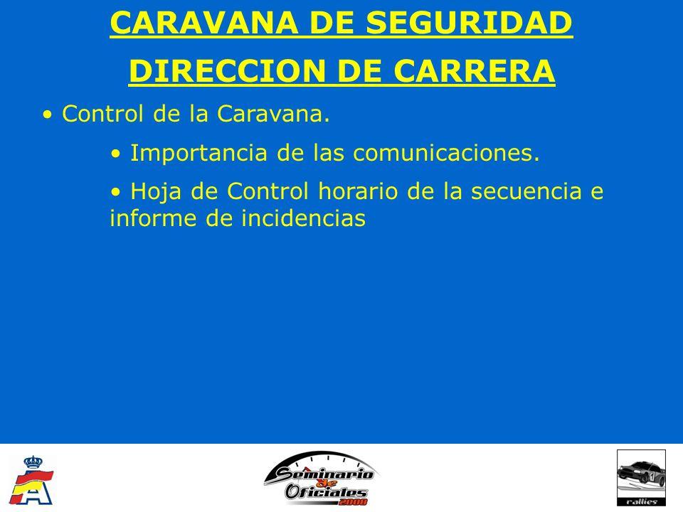 CARAVANA DE SEGURIDAD DIRECCION DE CARRERA Control de la Caravana. Importancia de las comunicaciones. Hoja de Control horario de la secuencia e inform