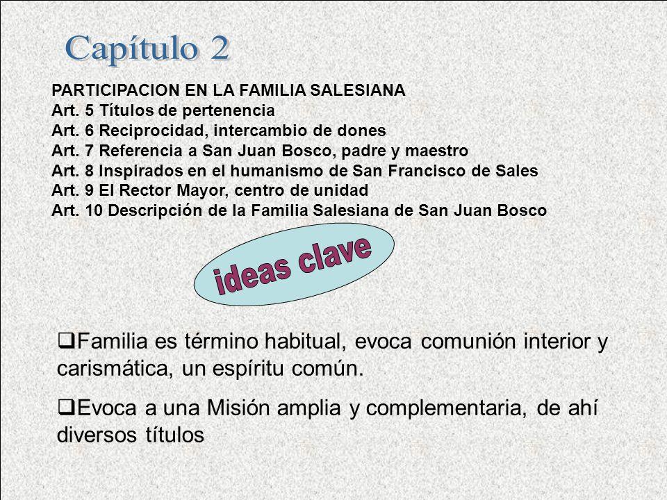 PARTICIPACION EN LA FAMILIA SALESIANA Art.5 Títulos de pertenencia Art.