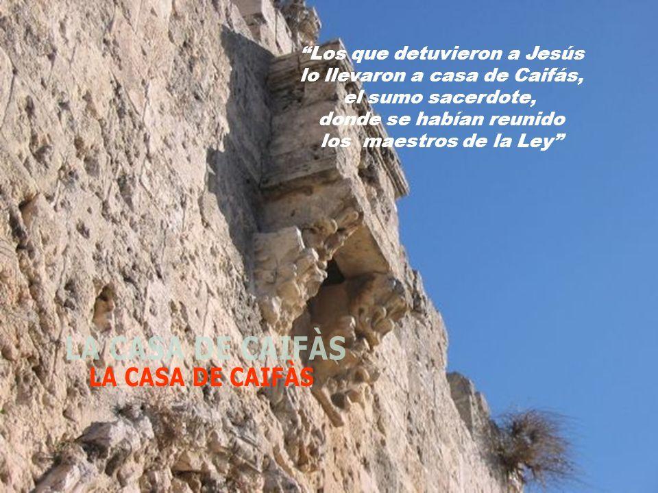 Los que detuvieron a Jesús lo llevaron a casa de Caifás, el sumo sacerdote, donde se habían reunido los maestros de la Ley