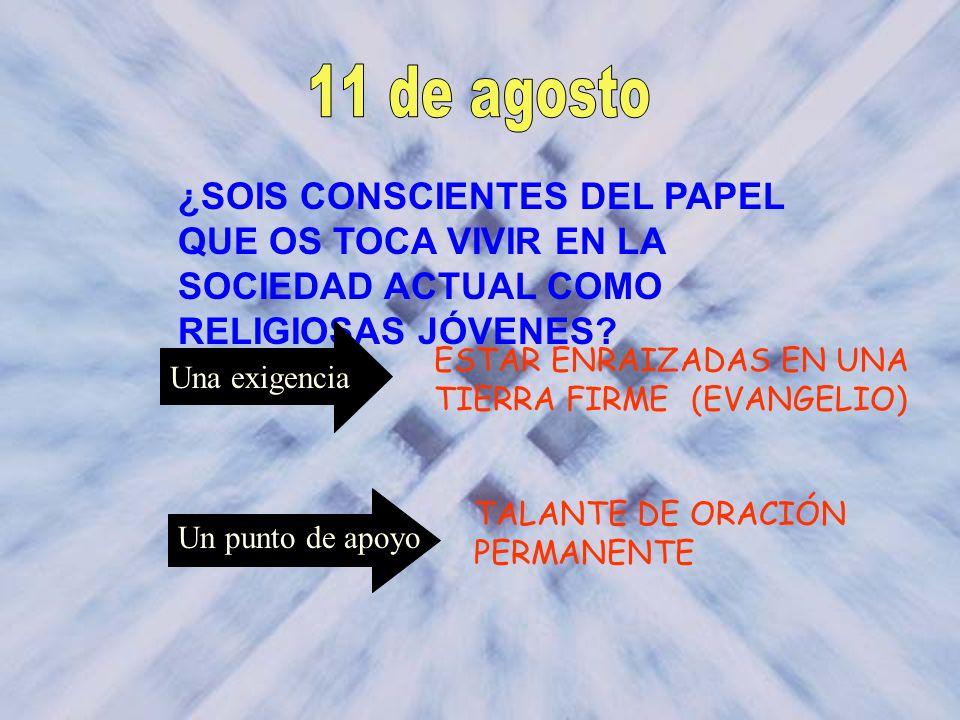 ¿SOIS CONSCIENTES DEL PAPEL QUE OS TOCA VIVIR EN LA SOCIEDAD ACTUAL COMO RELIGIOSAS JÓVENES? ESTAR ENRAIZADAS EN UNA TIERRA FIRME (EVANGELIO) Una exig