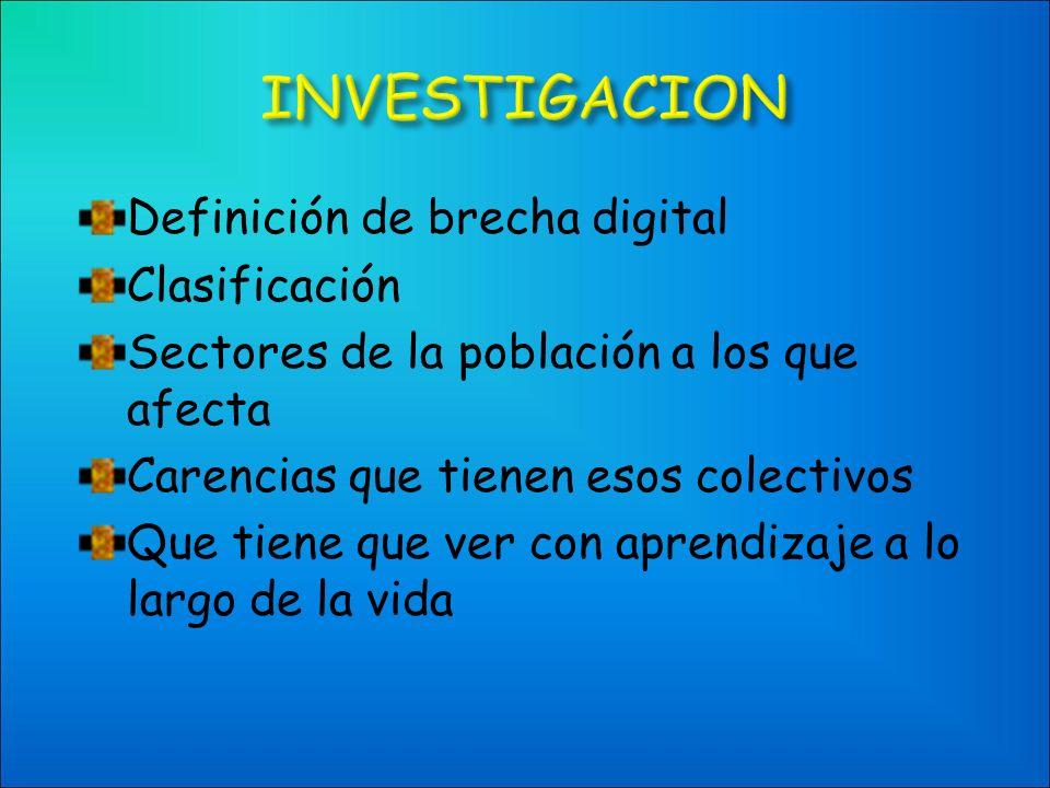 Definición de brecha digital Clasificación Sectores de la población a los que afecta Carencias que tienen esos colectivos Que tiene que ver con aprendizaje a lo largo de la vida