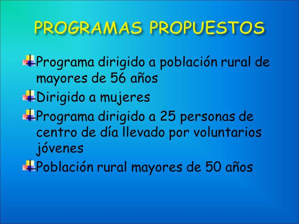 Programa dirigido a población rural de mayores de 56 años Dirigido a mujeres Programa dirigido a 25 personas de centro de día llevado por voluntarios jóvenes Población rural mayores de 50 años
