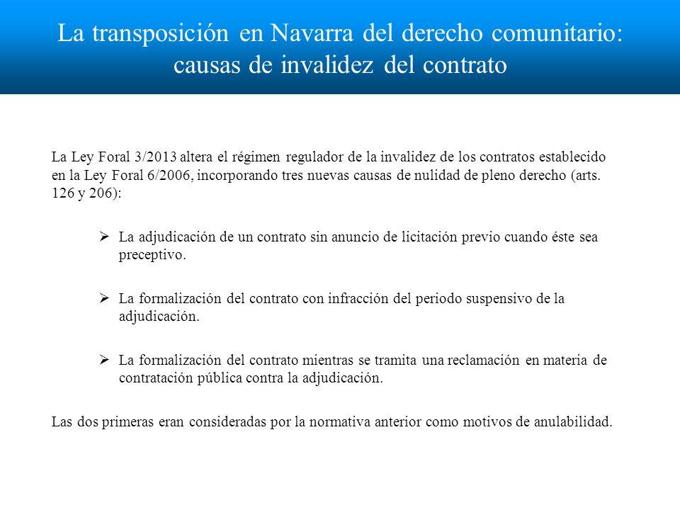 Órgano que resuelve el recurso El Tribunal Administrativo de Contratos Públicos de Navarra Órgano creado por la Ley Foral 3/2013 al incorporar un nuevo art.