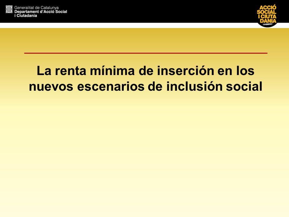 2 La renta mínima de inserción en los nuevos escenarios de inclusión Veinte años después de su creación, la renta mínima de inserción (RMI) se ha consolidado como una de las prestaciones más importantes en la lucha contra la exclusión social en Cataluña.