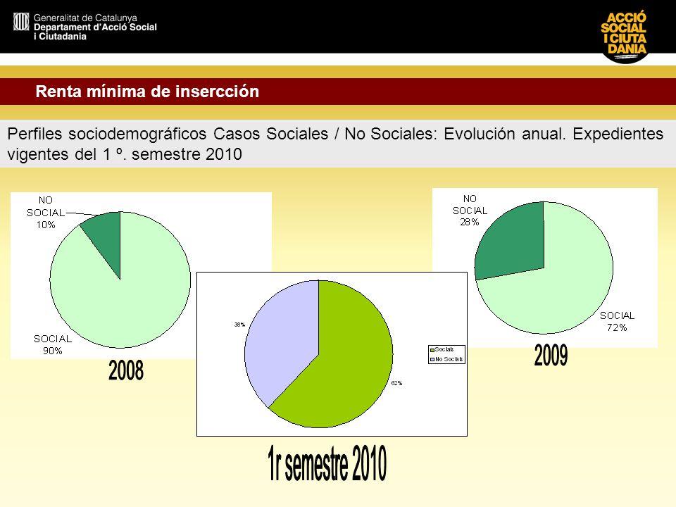 Perfiles sociodemográficos Casos Sociales / No Sociales: Evolución anual. Expedientes vigentes del 1 º. semestre 2010 Renta mínima de insercción
