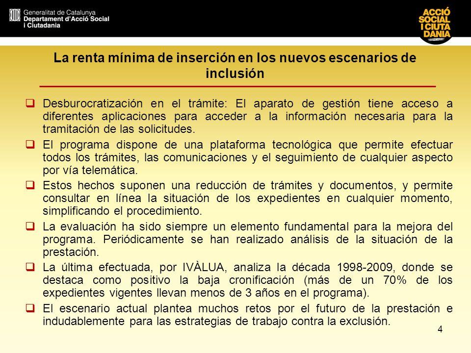 La renta mínima de inserción en los nuevos escenarios de inclusión PRINCIPALES RIESGOS POR EFECTO DEL INCREMENTO DE LA DEMANDA 1.Pérdida del carácter integrador de la prestación 2.Sobrecarga de la red de Servicios Sociales Básicos 3.Dificultades al efectuar las labores de seguimiento 4.Solapamiento de prestaciones públicas 5.Retraso en la tramitación de solicitudes 6.Insuficiencia e inadaptación de los dispositivos ocupacionales