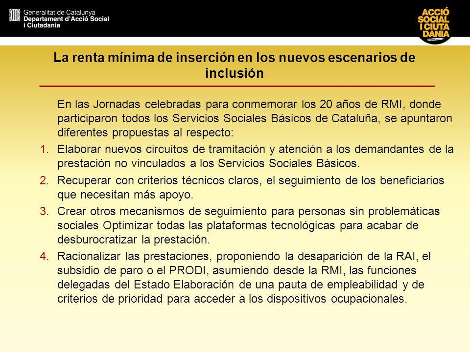 La renta mínima de inserción en los nuevos escenarios de inclusión En las Jornadas celebradas para conmemorar los 20 años de RMI, donde participaron t