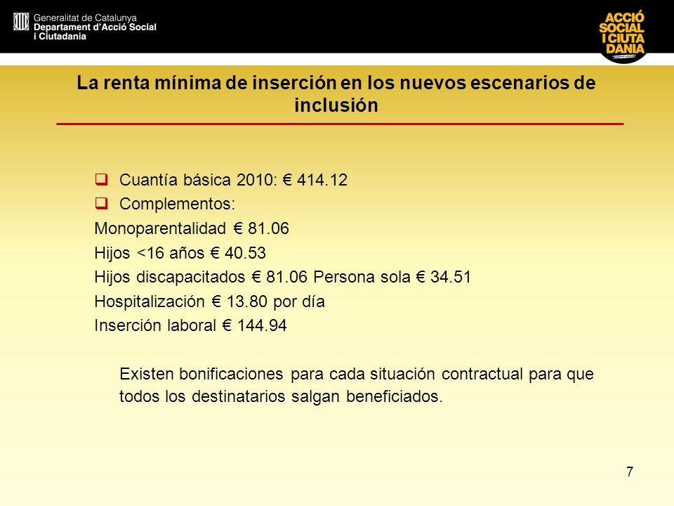 7 La renta mínima de inserción en los nuevos escenarios de inclusión Cuantía básica 2010: 414.12 Complementos: Monoparentalidad 81.06 Hijos <16 años 4