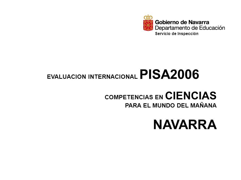 EVALUACION INTERNACIONAL PISA2006 COMPETENCIAS EN CIENCIAS PARA EL MUNDO DEL MAÑANA NAVARRA Servicio de Inspección