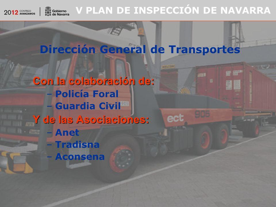 V PLAN DE INSPECCIÓN DE NAVARRA Dirección General de Transportes Con la colaboración de: –Policía Foral –Guardia Civil Y de las Asociaciones: –Anet –Tradisna –Aconsena