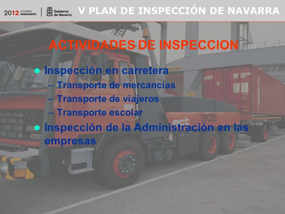 V PLAN DE INSPECCIÓN DE NAVARRA ACTIVIDADES DE INSPECCION Inspección en carretera –Transporte de mercancías –Transporte de viajeros –Transporte escolar Inspección de la Administración en las empresas