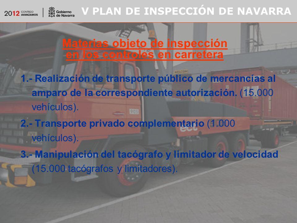 V PLAN DE INSPECCIÓN DE NAVARRA 1.- Realización de transporte público de mercancías al amparo de la correspondiente autorización.