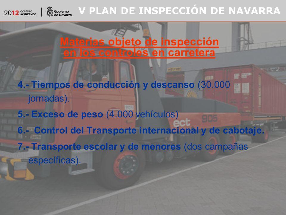 V PLAN DE INSPECCIÓN DE NAVARRA 4.- Tiempos de conducción y descanso (30.000 jornadas).