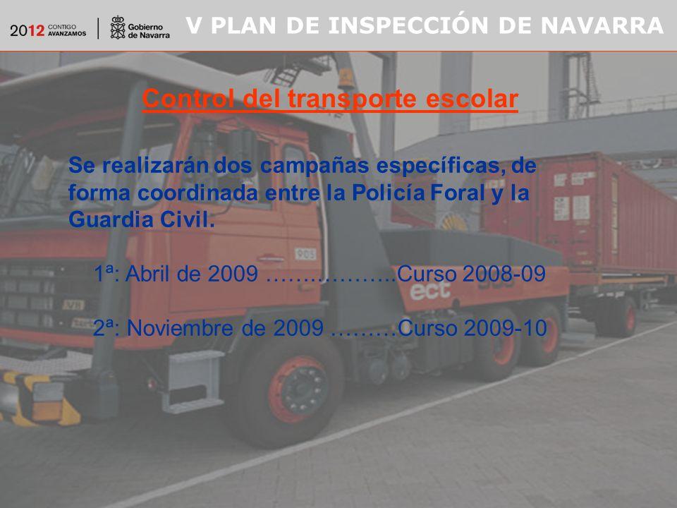 V PLAN DE INSPECCIÓN DE NAVARRA Control del transporte escolar Se realizarán dos campañas específicas, de forma coordinada entre la Policía Foral y la Guardia Civil.