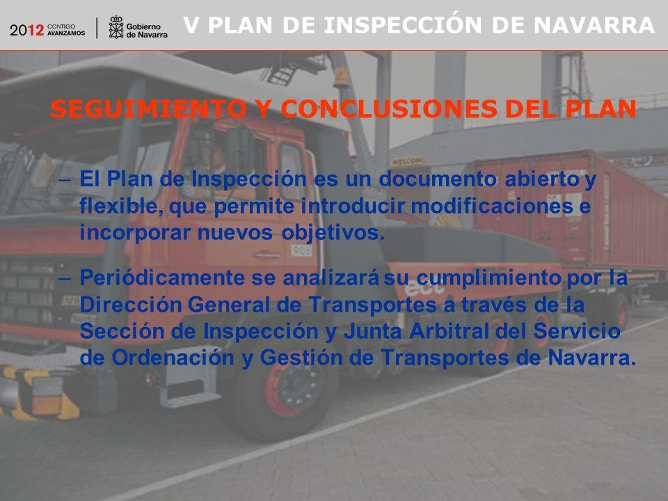 V PLAN DE INSPECCIÓN DE NAVARRA SEGUIMIENTO Y CONCLUSIONES DEL PLAN –El Plan de Inspección es un documento abierto y flexible, que permite introducir modificaciones e incorporar nuevos objetivos.