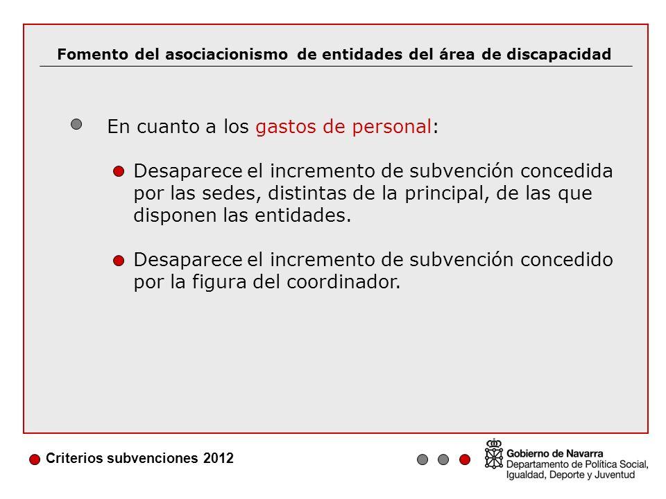 Criterios subvenciones 2012 Desaparece la subvención concedida para financiar a personal de servicios generales (sólo se subvenciona a diplomados y personal administrativo).