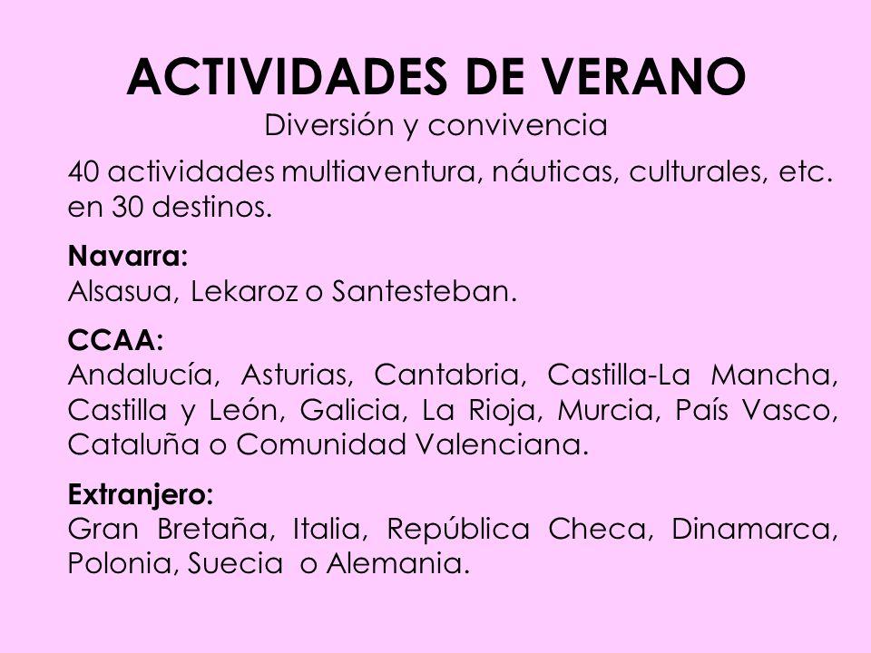 ACTIVIDADES DE VERANO Diversión y convivencia 40 actividades multiaventura, náuticas, culturales, etc.