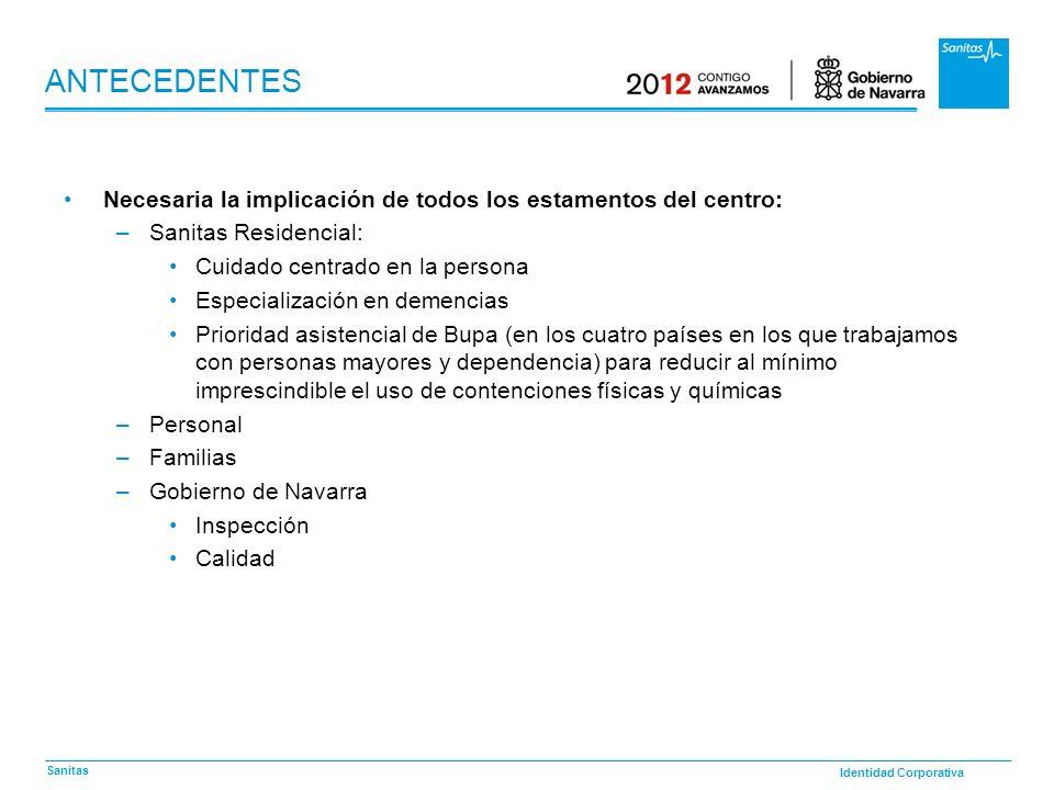 Identidad Corporativa Sanitas ANTECEDENTES Necesaria la implicación de todos los estamentos del centro: –Sanitas Residencial: Cuidado centrado en la p