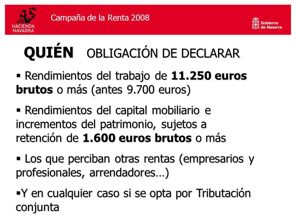 Campaña de la Renta 2006Campaña de la Renta 2008 QUIÉN OBLIGACIÓN DE DECLARAR Rendimientos del trabajo de 11.250 euros brutos o más (antes 9.700 euros) Rendimientos del trabajo de 11.250 euros brutos o más (antes 9.700 euros) Rendimientos del capital mobiliario e incrementos del patrimonio, sujetos a retención de 1.600 euros brutos o más Rendimientos del capital mobiliario e incrementos del patrimonio, sujetos a retención de 1.600 euros brutos o más Los que perciban otras rentas (empresarios y profesionales, arrendadores…) Los que perciban otras rentas (empresarios y profesionales, arrendadores…) Y en cualquier caso si se opta por Tributación conjunta Y en cualquier caso si se opta por Tributación conjunta