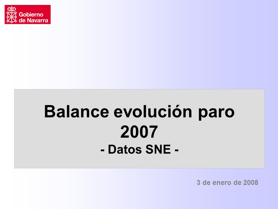 Balance evolución paro 2007 - Datos SNE - 3 de enero de 2008