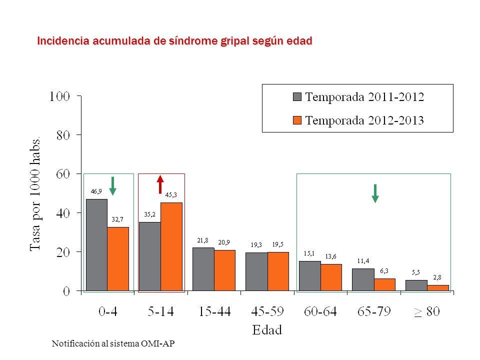 Incidencia acumulada de síndrome gripal según edad Notificación al sistema OMI-AP