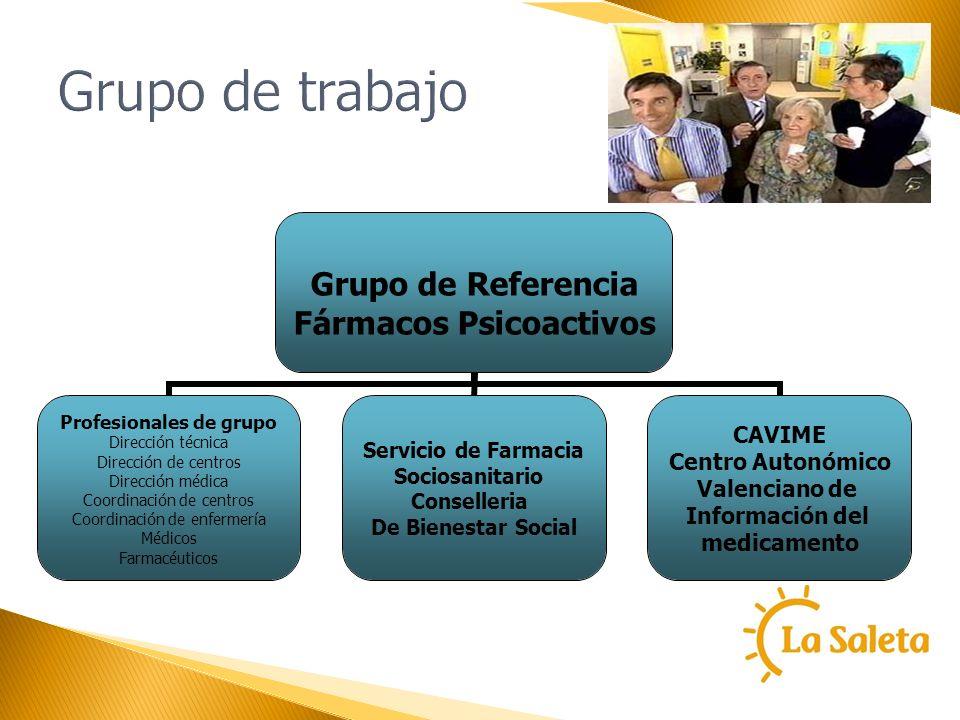 Grupo de trabajo Grupo de Referencia Fármacos Psicoactivos Profesionales de grupo Dirección técnica Dirección de centros Dirección médica Coordinación
