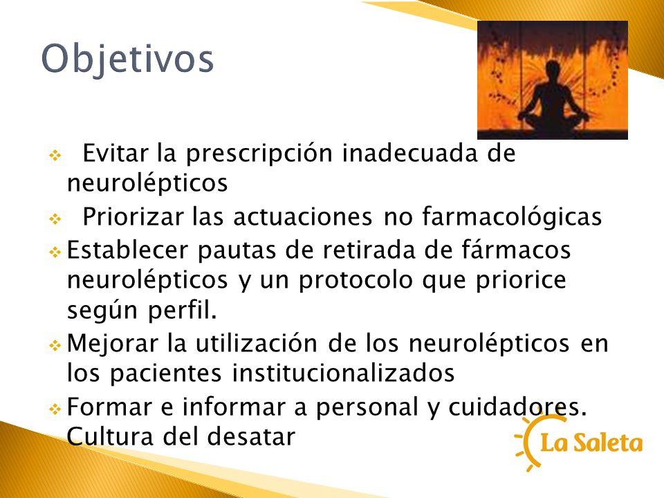 Objetivos Evitar la prescripción inadecuada de neurolépticos Priorizar las actuaciones no farmacológicas Establecer pautas de retirada de fármacos neu