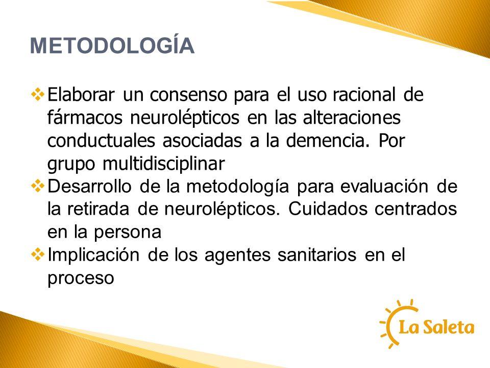 METODOLOGÍA Elaborar un consenso para el uso racional de fármacos neurolépticos en las alteraciones conductuales asociadas a la demencia. Por grupo mu