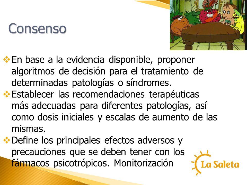 Consenso En base a la evidencia disponible, proponer algoritmos de decisión para el tratamiento de determinadas patologías o síndromes. Establecer las