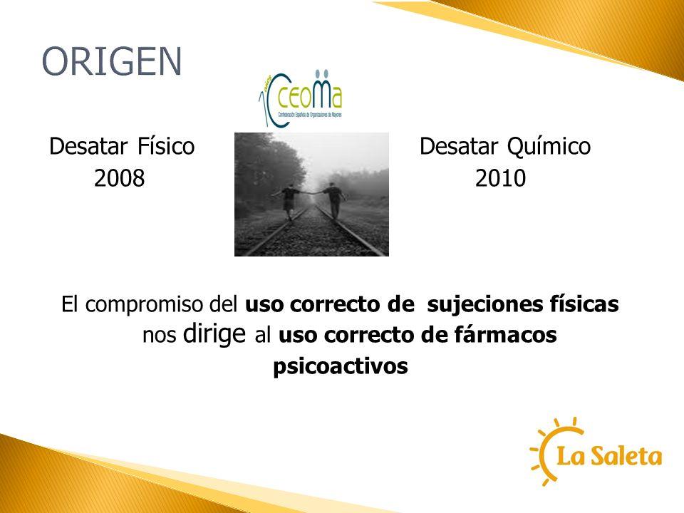 ORIGEN Desatar Físico Desatar Químico 2008 2010 El compromiso del uso correcto de sujeciones físicas nos dirige al uso correcto de fármacos psicoactiv