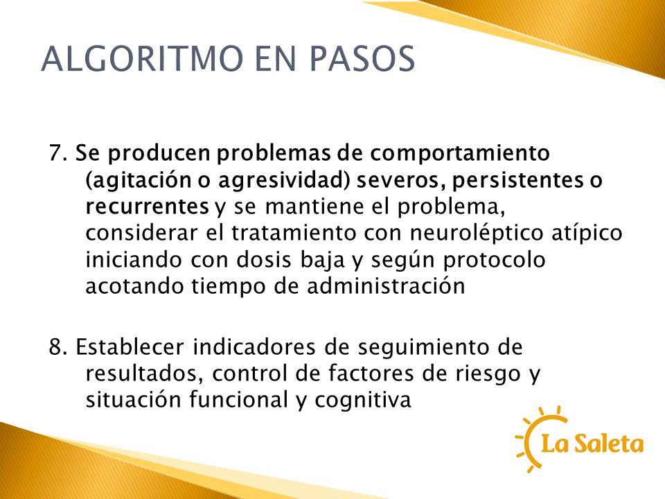 ALGORITMO EN PASOS 7. Se producen problemas de comportamiento (agitación o agresividad) severos, persistentes o recurrentes y se mantiene el problema,