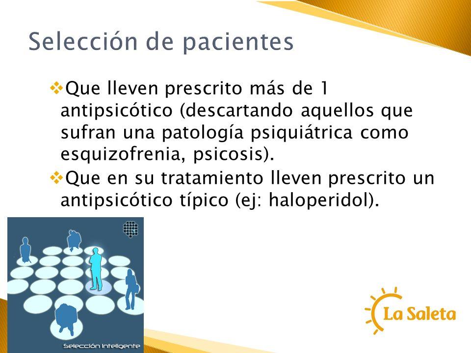 Selección de pacientes Que lleven prescrito más de 1 antipsicótico (descartando aquellos que sufran una patología psiquiátrica como esquizofrenia, psi
