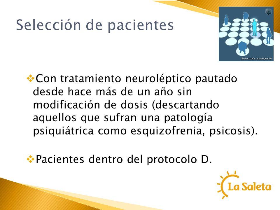 Selección de pacientes Con tratamiento neuroléptico pautado desde hace más de un año sin modificación de dosis (descartando aquellos que sufran una pa