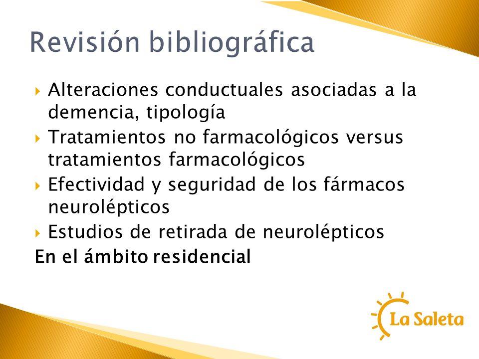 Revisión bibliográfica Alteraciones conductuales asociadas a la demencia, tipología Tratamientos no farmacológicos versus tratamientos farmacológicos