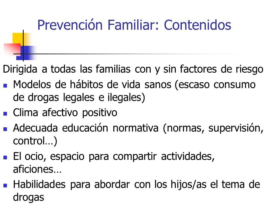 Prevención Familiar: Contenidos Dirigida a todas las familias con y sin factores de riesgo Modelos de hábitos de vida sanos (escaso consumo de drogas