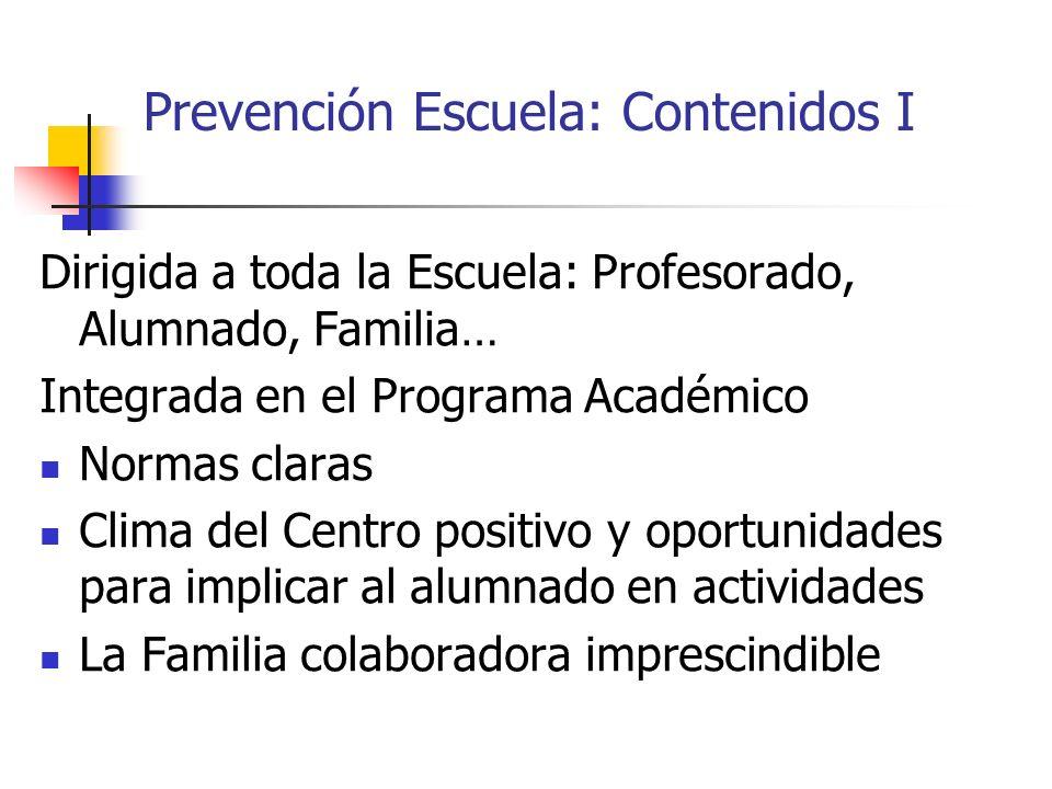 Prevención Escuela: Contenidos I Dirigida a toda la Escuela: Profesorado, Alumnado, Familia… Integrada en el Programa Académico Normas claras Clima de