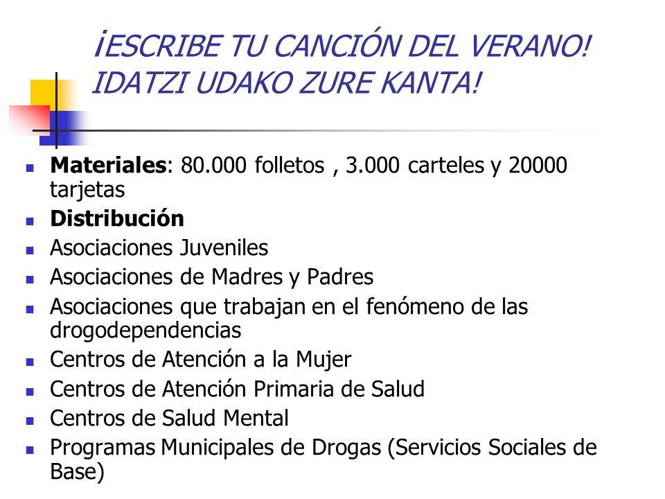 ¡ ESCRIBE TU CANCIÓN DEL VERANO! IDATZI UDAKO ZURE KANTA! Materiales: 80.000 folletos, 3.000 carteles y 20000 tarjetas Distribución Asociaciones Juven