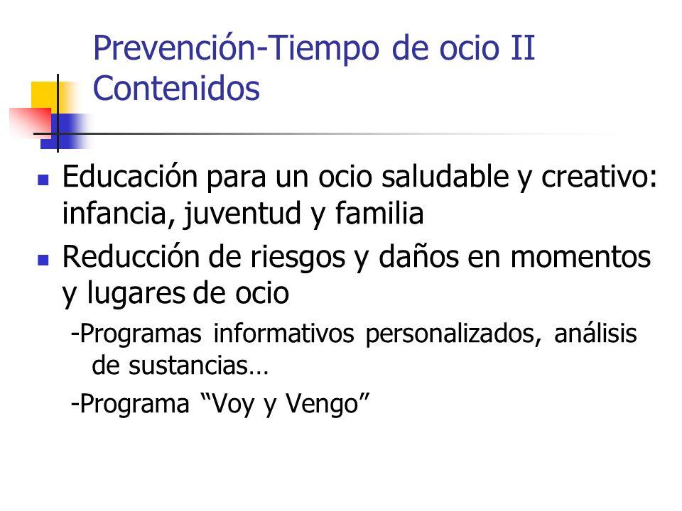 Prevención-Tiempo de ocio II Contenidos Educación para un ocio saludable y creativo: infancia, juventud y familia Reducción de riesgos y daños en mome
