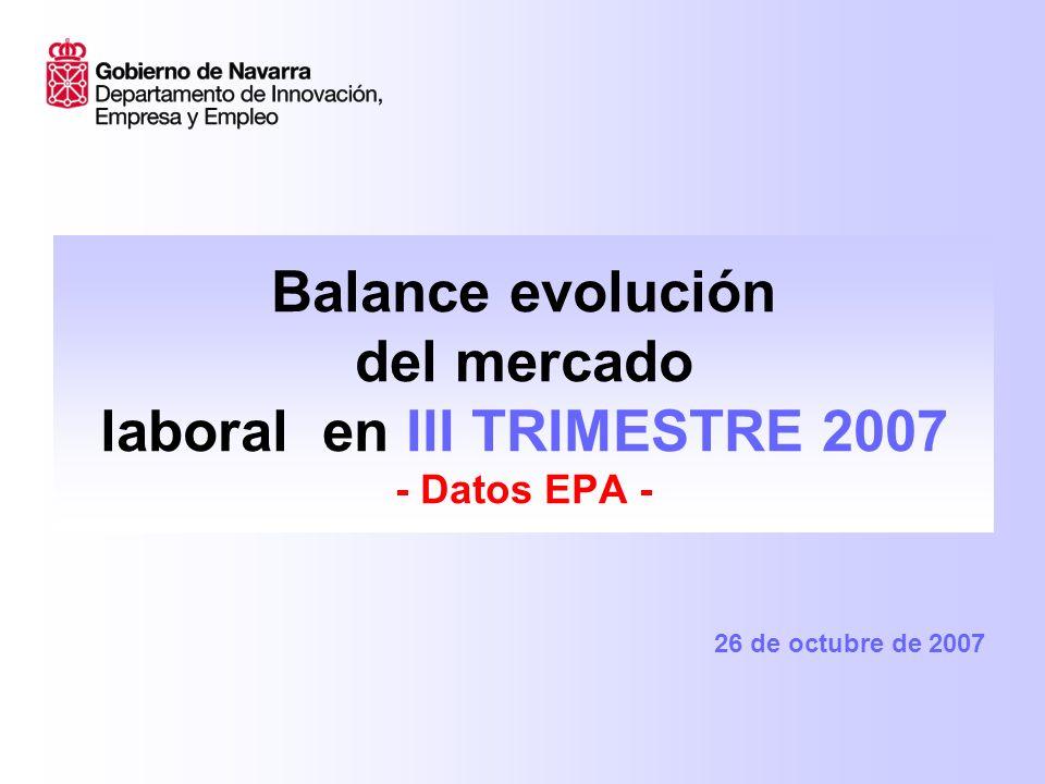 Balance evolución del mercado laboral en III TRIMESTRE 2007 - Datos EPA - 26 de octubre de 2007