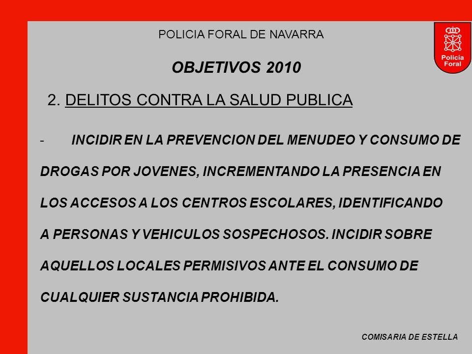 COMISARIA DE ESTELLA POLICIA FORAL DE NAVARRA OBJETIVOS 2010 -INCIDIR EN LA PREVENCION DEL MENUDEO Y CONSUMO DE DROGAS POR JOVENES, INCREMENTANDO LA PRESENCIA EN LOS ACCESOS A LOS CENTROS ESCOLARES, IDENTIFICANDO A PERSONAS Y VEHICULOS SOSPECHOSOS.