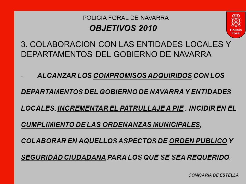 COMISARIA DE ESTELLA POLICIA FORAL DE NAVARRA OBJETIVOS 2010 -ALCANZAR LOS COMPROMISOS ADQUIRIDOS CON LOS DEPARTAMENTOS DEL GOBIERNO DE NAVARRA Y ENTIDADES LOCALES.