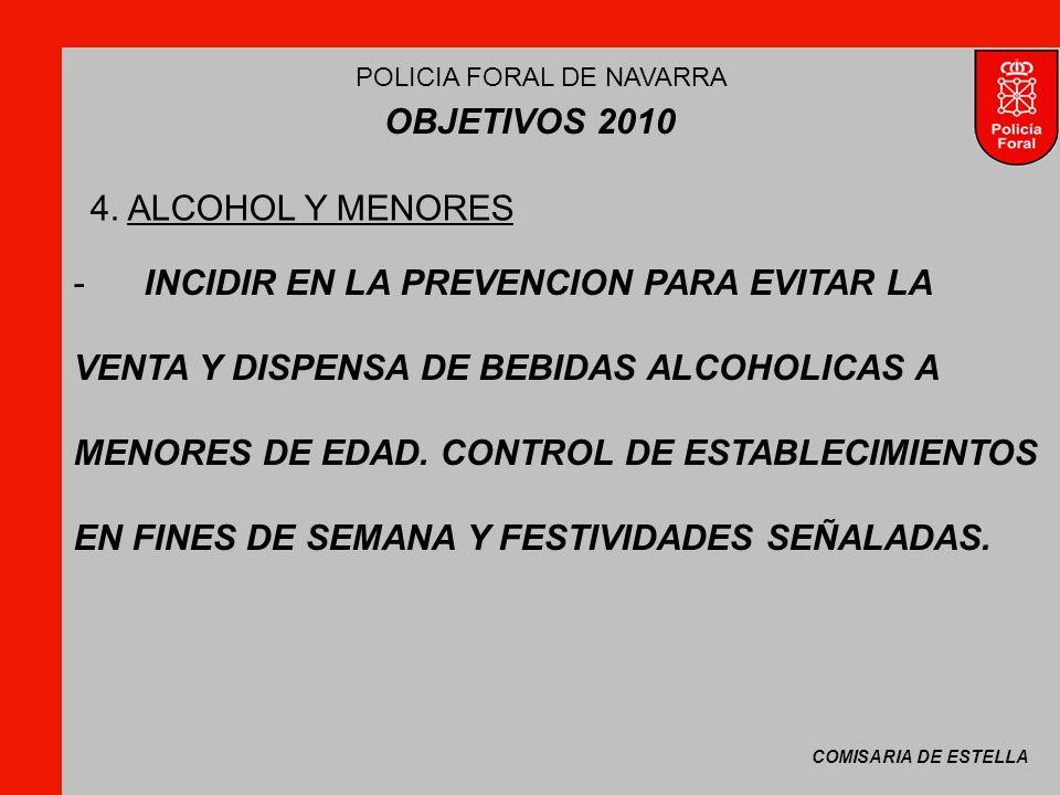 COMISARIA DE ESTELLA POLICIA FORAL DE NAVARRA OBJETIVOS 2010 -INCIDIR EN LA PREVENCION PARA EVITAR LA VENTA Y DISPENSA DE BEBIDAS ALCOHOLICAS A MENORES DE EDAD.