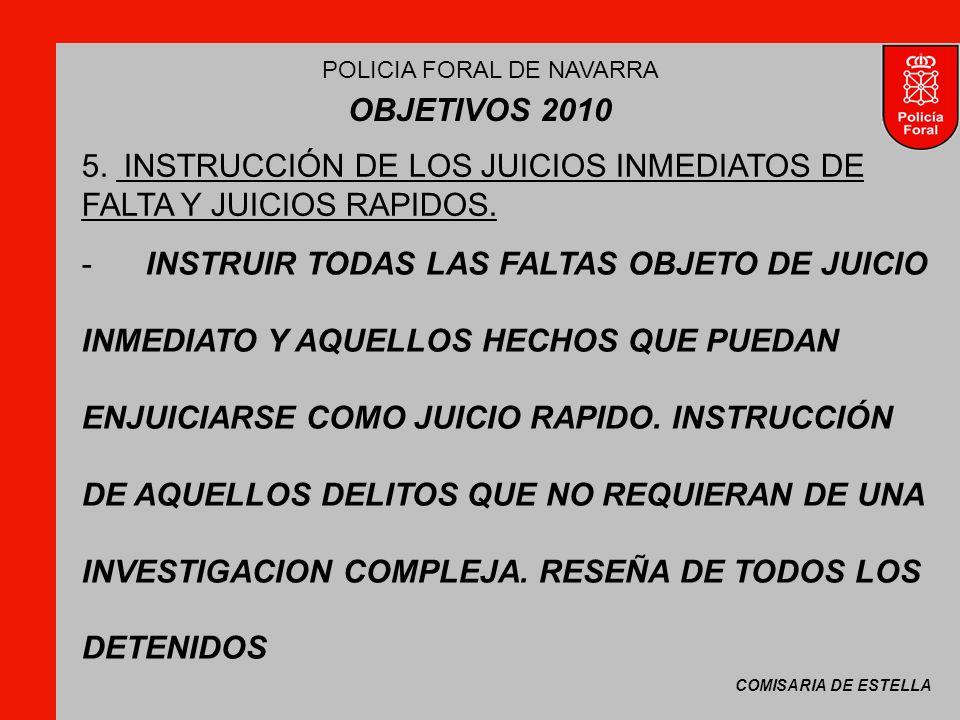 COMISARIA DE ESTELLA POLICIA FORAL DE NAVARRA OBJETIVOS 2010 -INSTRUIR TODAS LAS FALTAS OBJETO DE JUICIO INMEDIATO Y AQUELLOS HECHOS QUE PUEDAN ENJUICIARSE COMO JUICIO RAPIDO.