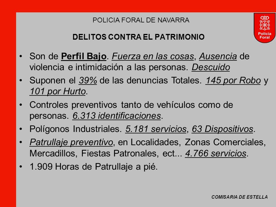 COMISARIA DE ESTELLA POLICIA FORAL DE NAVARRA DELITOS CONTRA EL PATRIMONIO Son de Perfil Bajo.
