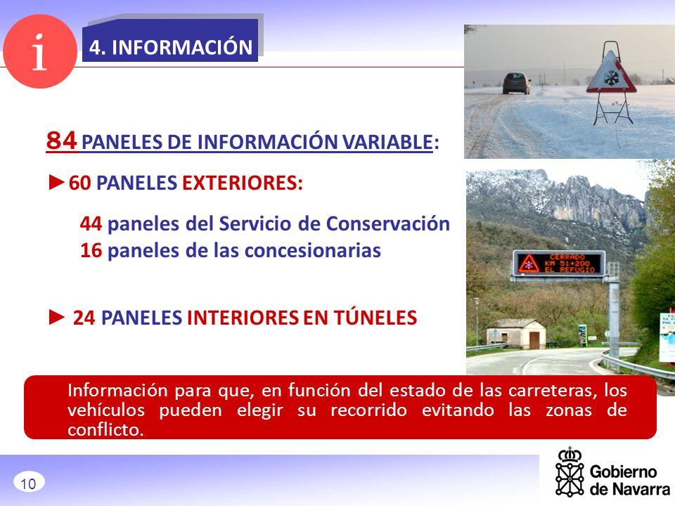 4. INFORMACIÓN 84 PANELES DE INFORMACIÓN VARIABLE: 60 PANELES EXTERIORES: 44 paneles del Servicio de Conservación 16 paneles de las concesionarias 24