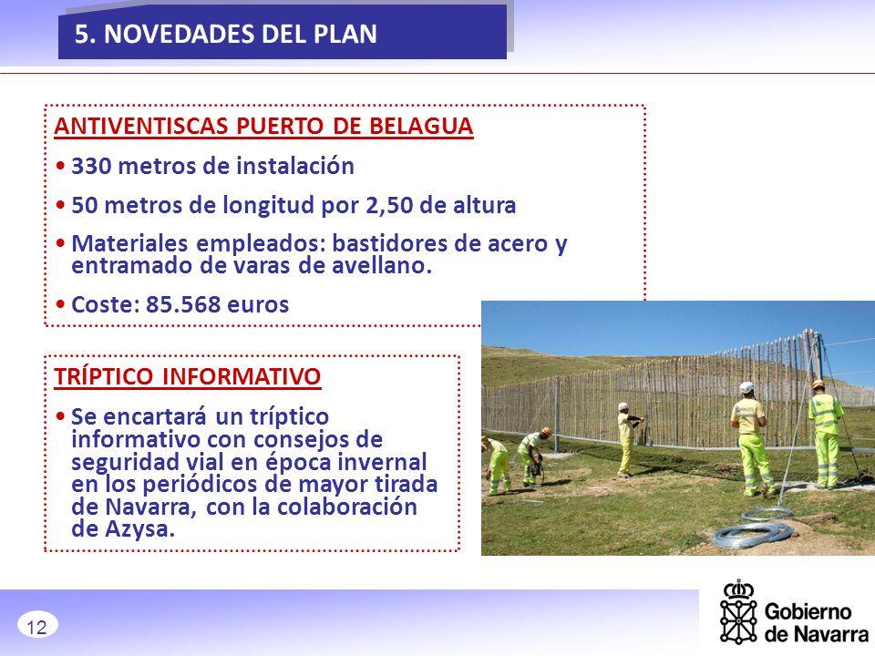 NOVEDADES ANTIVENTISCAS PUERTO DE BELAGUA 330 metros de instalación 50 metros de longitud por 2,50 de altura Materiales empleados: bastidores de acero